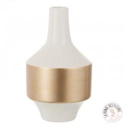 Vase decoratif or et blanc