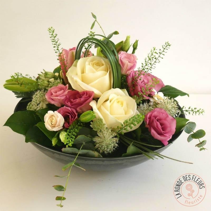 composition lili rose coupe fleurs pastel La Ronde des Fleurs