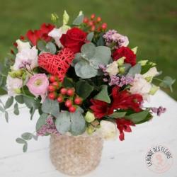 cheri bouquet rond rose et rouge la ronde des fleurs