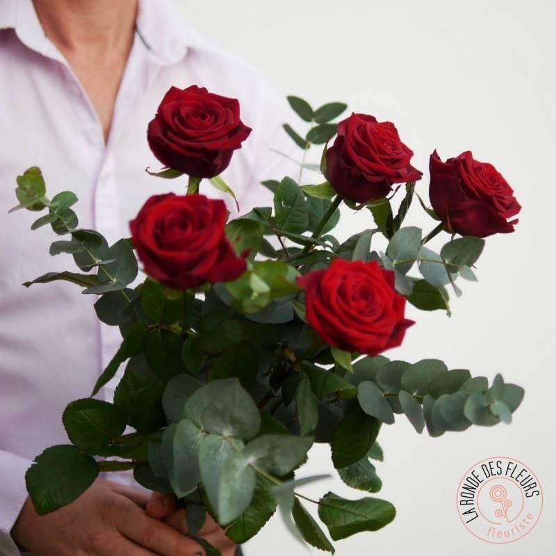 i love you bouquet de 5 roses rouges