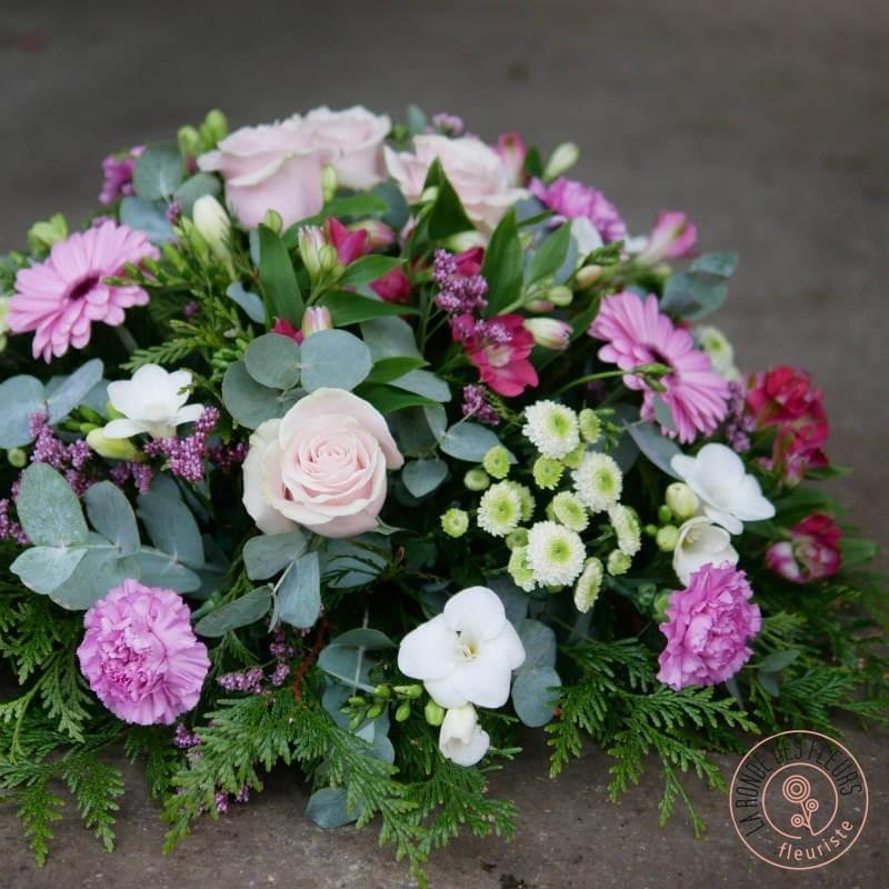 coussin rond souvenir La Ronde des Fleurs sépulture cérémonie  rennes