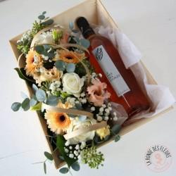 Coffret vin rosé et fleurs
