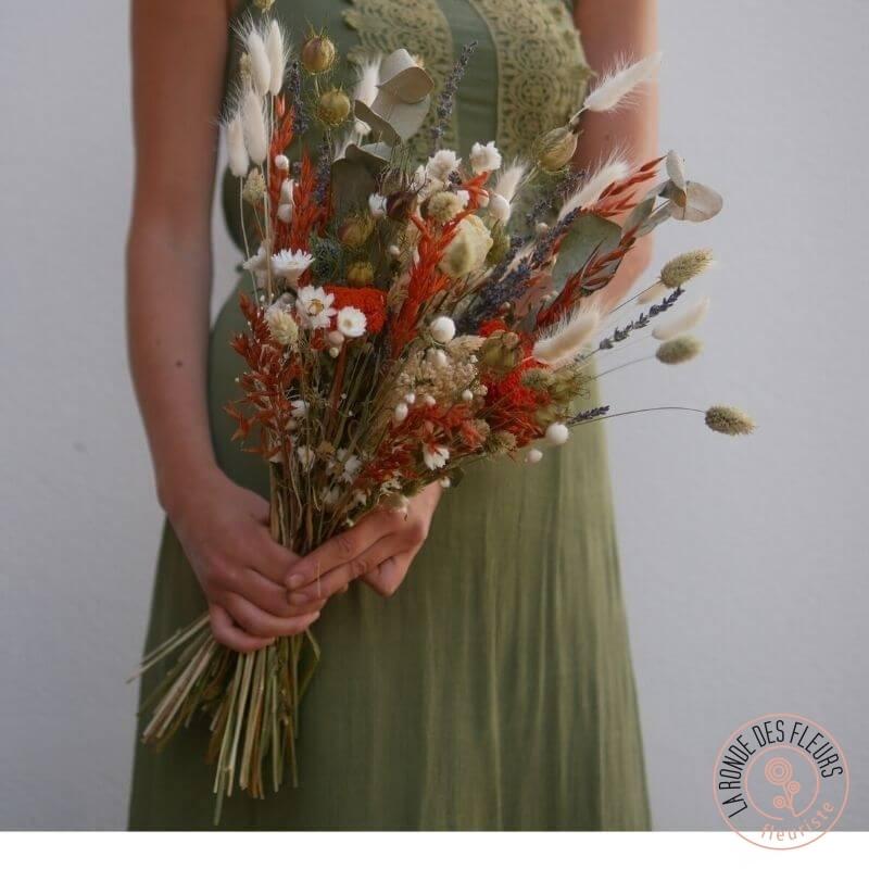 bouquet fleurs séchées brique la ronde des fleurs rennes