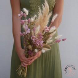 bouquet de fleurs séchées rose poudré la ronde des fleurs