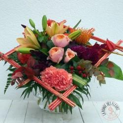 Bouquet carré de fleurs oranges - Ronde des fleurs