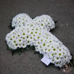 croix de fleurs blanches deuil rennes