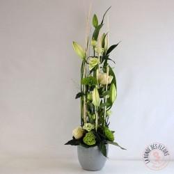 Composition hauteur blanche - Ronde des fleurs